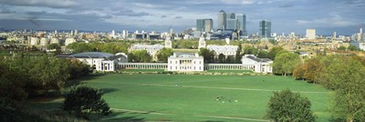 Aerial view of a city, Canary Wharf, Greenwich Park, Greenwich, London, England 2011 Poster by Panoramic Images for $71.25 CAD