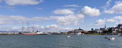 Boats in the bay, Transamerica Pyramid, Coit Tower, Marina Park, Bay Bridge, San Francisco, California, USA Poster by Panoramic Images for $86.25 CAD