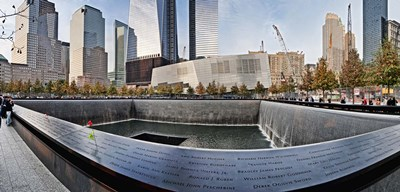911 Memorial along side the South Tower Footprint Memorial, New York City, New York State, USA 2011 Poster by Panoramic Images for $86.25 CAD