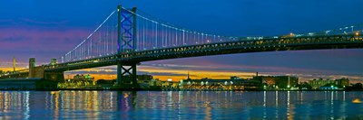 Suspension bridge across a river, Ben Franklin Bridge, River Delaware, Philadelphia, Pennsylvania, USA Poster by Panoramic Images for $71.25 CAD