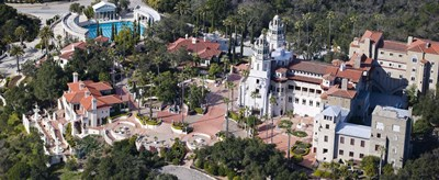Aerial view of a castle on a hill, Hearst Castle, San Simeon, San Luis Obispo County, California, USA Poster by Panoramic Images for $71.25 CAD