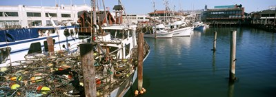 Fishing boats at a dock, Fisherman's Wharf, San Francisco, California, USA Poster by Panoramic Images for $86.25 CAD