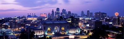 Union Station at sunset with city skyline in background, Kansas City, Missouri Poster by Panoramic Images for $71.25 CAD