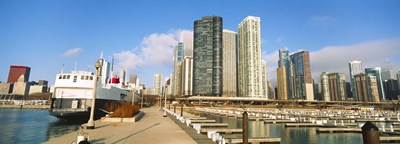 Columbia Yacht Club with city skyline, Chicago, Cook County, Illinois, USA Poster by Panoramic Images for $86.25 CAD