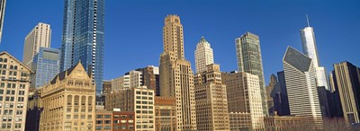 Low angle view of city skyline, Michigan Avenue, Chicago, Cook County, Illinois, USA Poster by Panoramic Images for $86.25 CAD