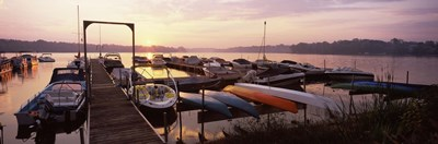 Boats in a lake at sunset, Lake Champlain, Vermont, USA Poster by Panoramic Images for $86.25 CAD