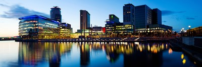 Media City at dusk, Salford Quays, Greater Manchester, England 2012 Poster by Panoramic Images for $86.25 CAD