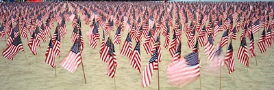 9/11 Tribute Flags, Pepperdine University, Malibu, California Poster by Panoramic Images for $90.00 CAD