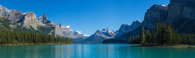 Maligne Lake with Canadian Rockies in the background, Jasper National Park, Alberta, Canada Poster by Panoramic Images for $71.25 CAD