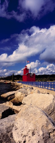Lighthouse at the coast, Big Red Lighthouse, Holland, Michigan, USA Poster by Panoramic Images for $71.25 CAD