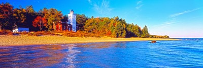 Forty Mile Point Lighthouse on the beach, Michigan, USA Poster by Panoramic Images for $71.25 CAD