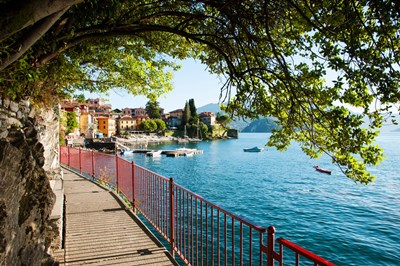 Walkway along the shore of a lake, Varenna, Lake Como, Lombardy, Italy Poster by Panoramic Images for $141.25 CAD