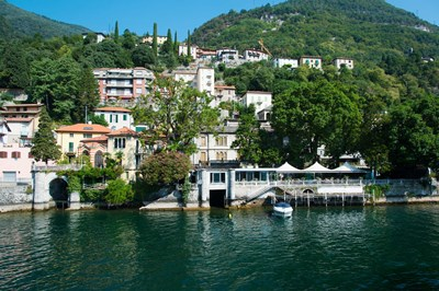 Acquadolce Cafe at the edge of Lake Como, Carate Urio, Province of Como, Lombardy, Italy Poster by Panoramic Images for $141.25 CAD