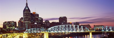 Skylines and Shelby Street Bridge at dusk, Nashville, Tennessee, USA 2013 Poster by Panoramic Images for $71.25 CAD