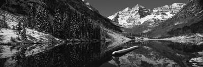 Reflection of a mountain in a lake in black and white, Maroon Bells, Aspen, Colorado Poster by Panoramic Images for $71.25 CAD
