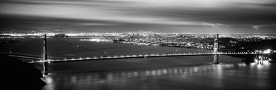 Golden Gate Bridge and San Francisco Skyline Lit Up (black & white) Poster by Panoramic Images for $71.25 CAD