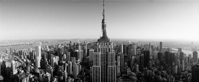 Aerial view of a cityscape, Empire State Building, Manhattan, New York City, USA (black & white) Poster by Panoramic Images for $86.25 CAD