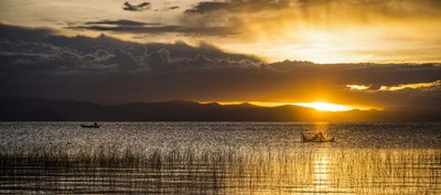 Sunset over Copacabana, Lake Titicaca, Bolivia Poster by Panoramic Images for $58.75 CAD