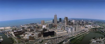 Aerial view of buildings in a city, Cleveland, Cuyahoga County, Ohio, USA Poster by Panoramic Images for $71.25 CAD