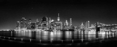 Illuminated  Manhattan Skyline, New York City Poster by Panoramic Images for $88.75 CAD