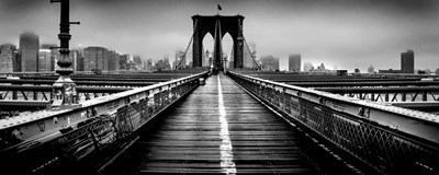 Fog over the Brooklyn Bridge, Brooklyn, Manhattan, NY Poster by Panoramic Images for $88.75 CAD