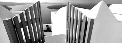 Gate at the terrace of a house, Santorini, Greece Poster by Panoramic Images for $83.75 CAD