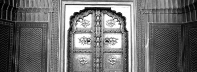 Close-up of a closed door of a palace, Jaipur City Palace, Jaipur, Rajasthan, India BW Poster by Panoramic Images for $85.00 CAD