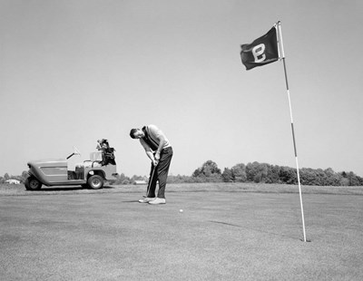 1960s Man Playing Golf Putting Poster by Vintage PI for $65.00 CAD