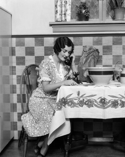 1920s Woman Sitting At Kitchen Table Poster by Vintage PI for $66.25 CAD