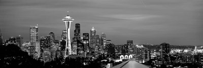 Skyscrapers in a city lit up at night, Space Needle, Seattle, King County, Washington State Poster by Panoramic Images for $80.00 CAD