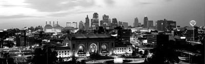 Union Station at sunset with city skyline in background, Kansas City, Missouri BW Poster by Panoramic Images for $77.50 CAD