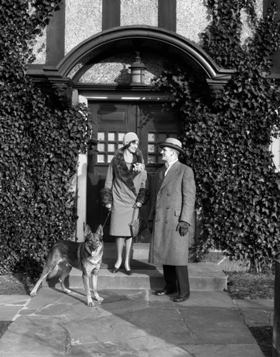 1920s Couple Wearing Coat Hat Gloves With German Shepherd Dog Poster by Vintage PI for $67.50 CAD