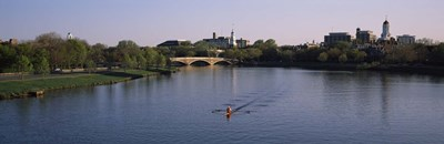 Boat in a river, Charles River, Boston & Cambridge, Massachusetts, USA Poster by Panoramic Images for $71.25 CAD