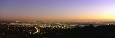 Aerial view of buildings in a city at dusk from Hollywood Hills, Hollywood, City of Los Angeles, California, USA Poster by Panoramic Images for $71.25 CAD