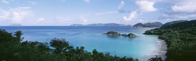US Virgin Islands, St. John, Trunk Bay, Panoramic view of an island and a beach Poster by Panoramic Images for $71.25 CAD