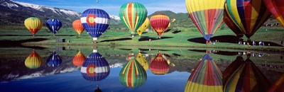 Reflection Of Hot Air Balloons On Water, Colorado, USA Poster by Panoramic Images for $86.25 CAD