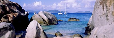 Boulders on a coast, The Baths, Virgin Gorda, British Virgin Islands Poster by Panoramic Images for $86.25 CAD