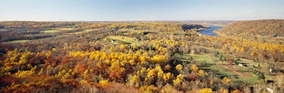 Aerial view of a landscape, Delaware River, Washington Crossing, Bucks County, Pennsylvania, USA Poster by Panoramic Images for $86.25 CAD