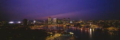 Aerial view of a city lit up at dusk, Baltimore, Maryland, USA Poster by Panoramic Images for $67.50 CAD