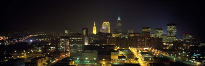 Aerial view of a city lit up at night, Cleveland, Ohio, USA Poster by Panoramic Images for $67.50 CAD