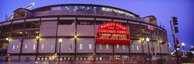 Wrigley Field at night, USA, Illinois, Chicago Poster by Panoramic Images for $86.25 CAD