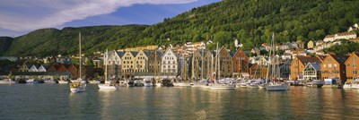 Boats in a river, Bergen, Hordaland, Norway Poster by Panoramic Images for $86.25 CAD