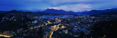Aerial view of a city at dusk, Lucerne, Switzerland Poster by Panoramic Images for $86.25 CAD