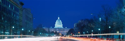 Government building lit up at dusk, Capitol Building, Pennsylvania Avenue, Washington DC, USA Poster by Panoramic Images for $86.25 CAD