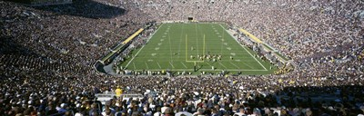 Aerial view of a football stadium, Notre Dame Stadium, Notre Dame, Indiana, USA Poster by Panoramic Images for $71.25 CAD