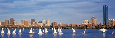 View of boats on a river by a city, Charles River,  Boston Poster by Panoramic Images for $86.25 CAD
