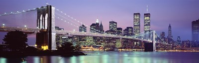 Bridge at dusk, Brooklyn Bridge, East River, World Trade Center, Wall Street, Manhattan, New York City, New York State, USA Poster by Panoramic Images for $86.25 CAD
