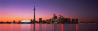 Reflection of buildings in water, CN Tower, Toronto, Ontario, Canada Poster by Panoramic Images for $71.25 CAD