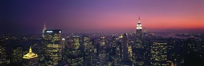 Twilight, Aerial, NYC, New York City, New York State, USA Poster by Panoramic Images for $71.25 CAD