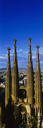 High Section View Of Towers Of A Basilica, Sagrada Familia, Barcelona, Catalonia, Spain Poster by Panoramic Images for $71.25 CAD